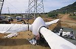 INDIA Tamil Nadu Muppandal ,.construction of steel lattice tower and Vestas RBB wind turbine in windfarm at Cape Comorin | INDIEN Tamil Nadu Muppandal , Aufbau von Gittermast Tuermen und Windkraftanlagen der Firma Vestas RBB , ein daenisch indisches joint venture , im Windpark am Kap Comorin