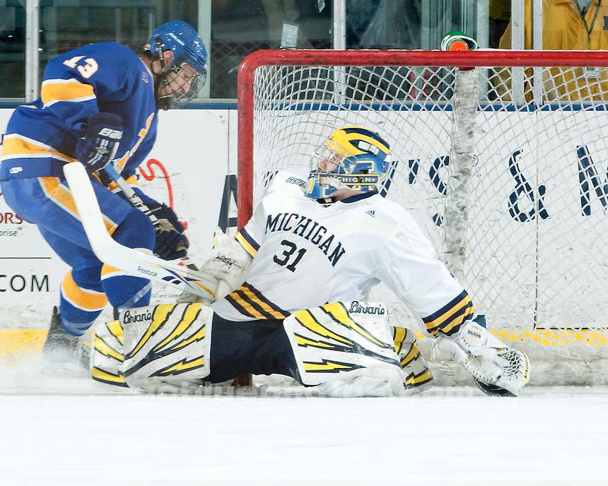 3/5/2010 Michigan vs. Lake Superior State University ice hockey at Yost Ice Arena.  U-M won 5-2.