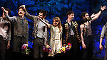 Rick Holmes, Adam Chandler-Berat, Celia Keenan-Bolger, Christian Borle, Kevin Del Aguila & Ensemble.during the Broadway Opening Night Performance Curtain Call for 'Peter And The Starcatcher' at the Brooks Atkinson Theatre on 4/15/2012 in New York City.