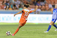 Houston, TX - Wednesday June 28, 2017: Carli Lloyd takes a shot at the Boston goal during a regular season National Women's Soccer League (NWSL) match between the Houston Dash and the Boston Breakers at BBVA Compass Stadium.