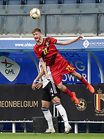 Belgium's Alexis Saelemaekers (22) heads the ball during a soccer game between the national teams Under21 Youth teams of Belgium and Germany on the 5th matday in group 9 for the qualification for the Under 21 EURO 2021 , on tuesday 8 th of September 2020  in Leuven , Belgium . PHOTO SPORTPIX.BE | SPP | SEVIL OKTEM