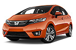 Stock pictures of low aggressive front three quarter view of 2016 Honda Jazz Elegance 5 Door Hatchback Low Aggressive