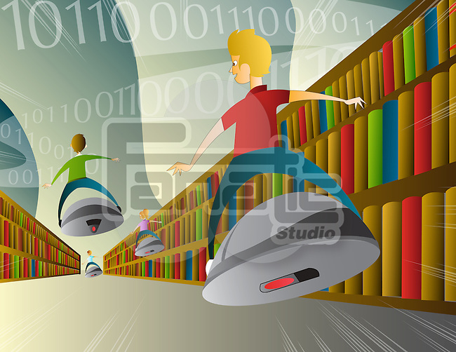 Illustration of high tech online education