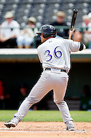 Devin Mesoraco #36 of the Louisville Bats at bat against the Charlotte Knights at Knights Stadium on July 17, 2011 in Fort Mill, South Carolina.  The Knights defeated the Bats 7-6.   (Brian Westerholt / Four Seam Images)