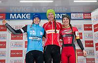 Picture by Allan McKenzie/SWpix.com - 10/12/17 - Cycling - HSBC UK National Cyclo-Cross Championships - Round 5, Peel Park - Bradford, England - Women's U23 podium Ffion James (Abergavenny RC),<br /> Amira Mellor (PH-MAS Paul Milnes Cycles), Kara Perryman ((Hargroves-Ridley/Montezuma&rsquo;s).