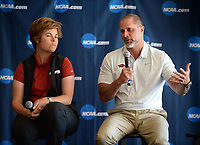 NWA Democrat-Gazette/ANDY SHUPE<br /> Brad McMakin (right), Arkansas men's golf coach, speaks Tuesday, April 9, 2019, alongside Shauna Taylor, Arkansas women's golf coach, during a press conference to announce the details of the NCAA Men's and Women's Golf Nation Championship at Blessings Golf Club in Johnson.