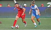 Portland, OR - Saturday August 19, 2017: Christine Sinclair, Amber Brooks during a regular season National Women's Soccer League (NWSL) match between the Portland Thorns FC and the Houston Dash at Providence Park.
