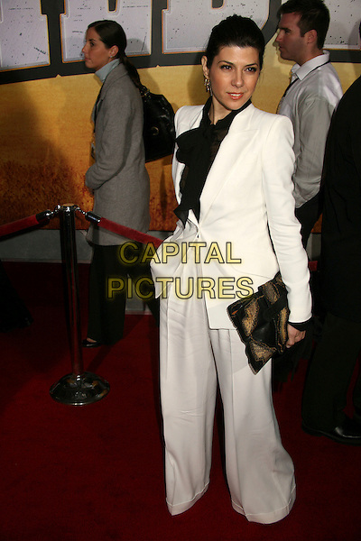 "MARISA TOMEI.""Wild Hogs"" Los Angeles Premiere at the El Capitan Theatre, Hollywood, California, USA..February 27th, 2007.full length white trouser suit black blouse tie neck bag jacket .CAP/ADM/BP.©Byron Purvis/AdMedia/Capital Pictures"