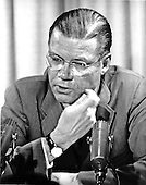 Washington, DC - July 6, 2009 -- Former United States Secretary of Defense Robert S. McNamara, Architect of Vietnam War, died in his sleep at his home in Washington in the early morning of Monday, July 6, 2009. McNamara, who served as Secretary of Defense under Presidents Kennedy and Johnson, was 93.  This file photo dated April 3, 1967, shows McNamara during a press  conference at the Pentagon.  At the press conference, he announced a meeting of the Nuclear Planning Group for April 6 and 7, 1967 in Washington..Credit: Arnie Sachs / CNP