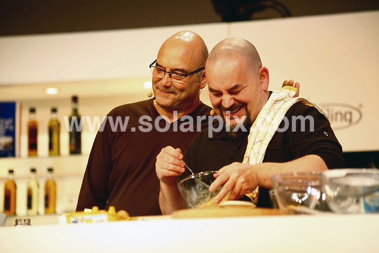 **ALL ROUND PICTURES FROM SOLARPIX.COM**                                             **WORLDWIDE SYNDICATION RIGHTS**                                                                                  Caption: The BBC Good Food Show at the NEC in Birmingham  Uk                                                                            This pic: Gregg Wallace & previous Masterchef winner Mat Follas                                                                                            JOB REF: 14257       NYA       DATE:27.11.2011                                                            **MUST CREDIT SOLARPIX.COM OR DOUBLE FEE WILL BE CHARGED**                                                                      **MUST AGREE FEE BEFORE ONLINE USAGE**                               **CALL US ON: +34 952 811 768 or LOW RATE FROM UK 0844 617 7637**