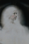 Conceptual image of female face with ghostly halo