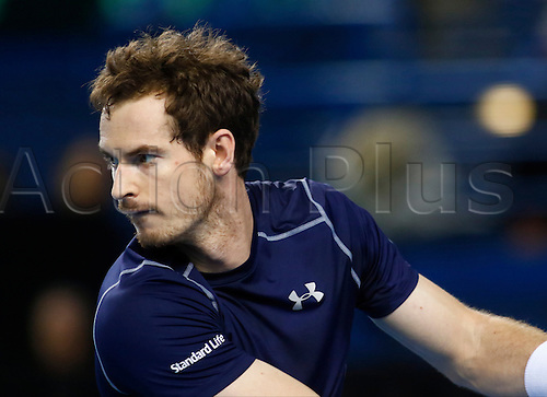 06.03.2016. Barclaycard Arena, Birmingham, England. Davis Cup Tennis World Group First Round. Great Britain versus Japan. Great Britain's Andy Murray during his singles match against Japan's Kei Nishikori on day 3 of the tie. Murray won in five sets.