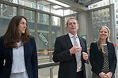 Joanna Slota-Newson,  Hamish Watson, Sian Berry, Green candidate for Mayor of London, Launch of Polysolar photovoltaic bus shelter, Canary Wharf, London.