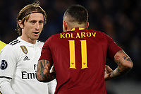Luka Modric of Real Madrid and Aleksandar Kolarov of AS Roma during the Uefa Champions League 2018/2019 Group G football match between AS Roma and Real Madrid atOlimpico stadium , Rome, November, 27, 2018 <br />  Foto Andrea Staccioli / Insidefoto