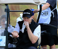 Stephen Gallacher (SCO) in the driving seat during Wednesday's Pro-Am Day of the 2014 BMW Masters held at Lake Malaren, Shanghai, China 29th October 2014.<br /> Picture: Eoin Clarke www.golffile.ie
