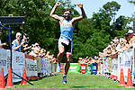 GER - Maxdorf, Germany, June 14: Michael Maerz #2 (LLG Wonnegau / ROWE Sports) celebrates his 2nd place at the 12. Maxdorfer Triathlon on June 14, 2015 at TSG Maxdorf in Maxdorf, Germany. (Photo by Dirk Markgraf / www.265-images.com) *** Local caption ***