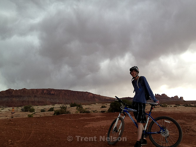 Noah Nelson riding the Bar-M trail, Friday April 5, 2013.