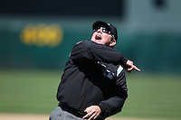 OAKLAND, CA - MAY 23:  First base umpire Greg Gibson #53 ejects manager Bob Geren #17 of the Oakland Athletics during the game against the San Francisco Giants at the Oakland-Alameda County Coliseum on May 23, 2010 in Oakland, California. Photo by Brad Mangin