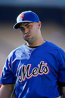 Carlos Beltran of the New York Mets during batting practice before a game from the 2007 season at Dodger Stadium in Los Angeles, California. (Larry Goren/Four Seam Images)