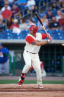 Clearwater Threshers first baseman Kyle Martin (27) at bat during a game against the Dunedin Blue Jays on April 8, 2016 at Bright House Field in Clearwater, Florida.  Dunedin defeated Clearwater 8-3.  (Mike Janes/Four Seam Images)