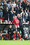 Chris Wilder manager of Sheffield Utd congratulates Billy Sharp of Sheffield Utd who scored the winning goal during the Premier League match at Bramall Lane, Sheffield. Picture date: 7th March 2020. Picture credit should read: Alistair Langham/Sportimage