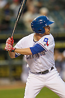 Round Rock Express outfielder Ryan Strausborger (5) at bat during Pacific Coast League game against the Memphis Redbirds on April 21, 2015 at the Dell Diamond in Round Rock, Texas. Round Rock defeated Memphis 2-1. (Andrew Woolley/Four Seam Images)