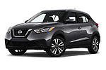 Stock pictures of low aggressive front three quarter view of a 2019 Nissan Kicks SV 5 Door SUV
