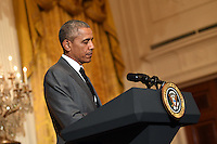 United States President Barack Obama speaks about the recent terrorist attack in Nice, France, as he address a diplomatic reception in the East Room of the White House in Washington, D.C. on July 15, 2016. A terrorist attack killed at least 84 people celebrating Bastille Day yesterday in Nice, France. Photo Credit: Kevin Dietsch/CNP/AdMedia