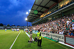 28.08.2019, Stadion Lohmühle, Luebeck, GER,  VFB Lübeck/Luebeck vs VfL Wolfsburg IIi<br /> <br /> DFB REGULATIONS PROHIBIT ANY USE OF PHOTOGRAPHS AS IMAGE SEQUENCES AND/OR QUASI-VIDEO.<br /> <br /> im Bild / picture shows<br /> Spielunterbrechung da das Flutlicht ausgefallen ist, die Fans helfen mit Handys und Feuerzeugen aus.<br /> <br /> Foto © nordphoto / Tauchnitz