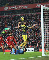 1st February 2020; Anfield, Liverpool, Merseyside, England; English Premier League Football, Liverpool versus Southampton; Mohammed Salah of Liverpool scores his team's fourth goal after 90 minutes
