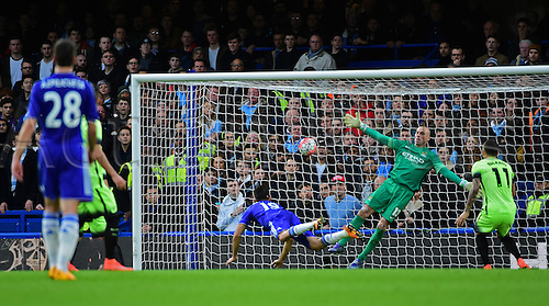 21.02.2016. Stamford Bridge, London, England. Emirates FA Cup 5th Round. Chelsea versus Manchester City. Manchester City's Willy Caballero can't stop Chelsea's Diego Costa diving header