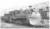 RGS 2-8-0 #41 with wedge plow on ready track in Dolores.<br /> RGS  Dolores, CO  Taken by Gibson, William A. Sr. - 8/21/1947