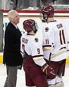 Jerry York (BC - Head Coach), Austin Cangelosi (BC - 9), Chris Calnan (BC - 11) - The Boston College Eagles defeated the University of Vermont Catamounts 7-4 on Saturday, March 11, 2017, at Kelley Rink to sweep their Hockey East quarterfinal series.The Boston College Eagles defeated the University of Vermont Catamounts 7-4 on Saturday, March 11, 2017, at Kelley Rink to sweep their Hockey East quarterfinal series.