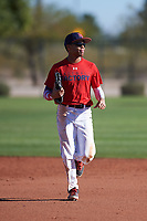 Brendon Gibson (44), from Indianapolis, Indiana, while playing for the Red Sox during the Under Armour Baseball Factory Recruiting Classic at Red Mountain Baseball Complex on December 28, 2017 in Mesa, Arizona. (Zachary Lucy/Four Seam Images)