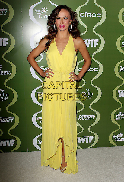 Karina Smirnoff<br /> Variety &amp; Women In Film Pre-Emmy Event presented by Yoplait Greek held at Scarpetta, Beverly Hills, California, USA, <br /> 20th September 2013.<br /> full length yellow hands on hips long maxi dress <br /> CAP/ADM/KB<br /> &copy;Kevan Brooks/AdMedia/Capital Pictures