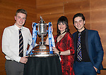 St Johnstone FC Scottish Cup Celebration Dinner at Perth Concert Hall...01.02.15<br /> Beverley Mayer with sons Blair and Ruari<br /> Picture by Graeme Hart.<br /> Copyright Perthshire Picture Agency<br /> Tel: 01738 623350  Mobile: 07990 594431