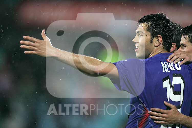 Getafe's Miku celebrates during La Liga match, April 14, 2010. (ALTERPHOTOS/Alvaro Hernandez).
