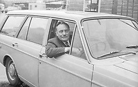A show of confidence - Enoch Powell, who is standing as an Ulster Unionist candidate in South Down, in the 10th October 1974 UK General Election, drives his Volvo estate car, laden with personal belongings, off the Liverpool-Belfast car ferry, September 1974. 197409000499<br />