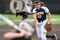 NWA Democrat-Gazette/CHARLIE KAIJO Rogers Heritage High School Allyson Fultz (20) throws a pitch during the 6A State Softball Tournament, Thursday, May 9, 2019 at Tiger Athletic Complex at Bentonville High School in Bentonville. Rogers Heritage High School lost to Northside High School 8-6
