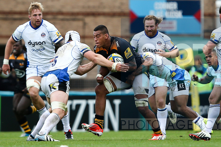 London Wasps' Nathan Hughes - Rugby Union - 2014 / 2015 Aviva Premiership - Wasps vs. Bath - Adams Park Stadium - London - 11/10/2014 - Pic Charlie Forgham-Bailey/Sportimage