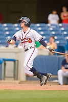 Matt Weaver #9 of the Rome Braves follows through on his swing against the Greenville Drive at State Mutual Stadium July 25, 2010, in Rome, Georgia.  Photo by Brian Westerholt / Four Seam Images