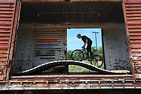 NWA Democrat-Gazette/J.T. WAMPLER Gatlin Hubbard of Hattiesburg Miss. rides his bike Thursday June 15, 2017 at the Railyard Bike Park in Rogers. Hubbard traveled from Mississippi with family members to experience Northwest Arkansas mountain bike trails as well as the Railyard.