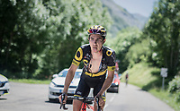 Angelo Tulik (FRA/Direct Energie) making clear what he's got in mind for the last 20+ km...<br /> <br /> stage 7: Aoste &gt; Alpe d'Huez (168km)<br /> 69th Crit&eacute;rium du Dauphin&eacute; 2017