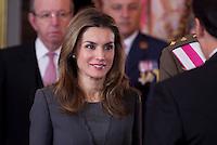 MADRI, ESPANHA, 06 JANEIRO 2013 - PARADA MILITAR ANO NOVO - A princesa Letizia  durante Parada Militar do Ano Novo no Palacio Real de Madri capital da Espanha, neste domingo, 06/01/2013. (FOTO: MIGUEL CORDOBA / ALFAQUI / BRAZIL PHOTO PRESS).