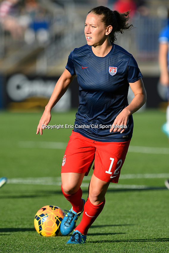 June 19, 2014 - East Hartford, Conn. U.S. - United State's Lauren Holiday (12) warms up before the USA Women's Soccer friendly game between USA and France held at Rentschler Field in East Hartford Connecticut. The match ended with a 2-2 tied score. Eric Canha/CSM