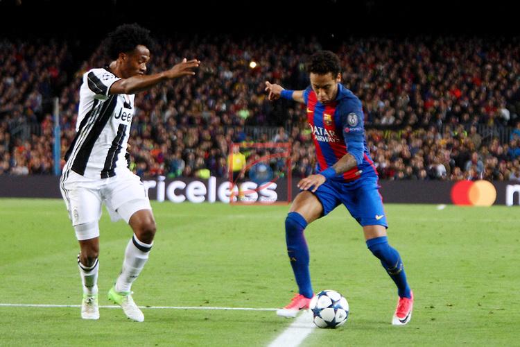 UEFA Champions League 2016/2017.<br /> Quarter-finals 2nd leg.<br /> FC Barcelona vs Juventus Football Club: 0-0.<br /> Juan Cuadrado vs Neymar Jr.