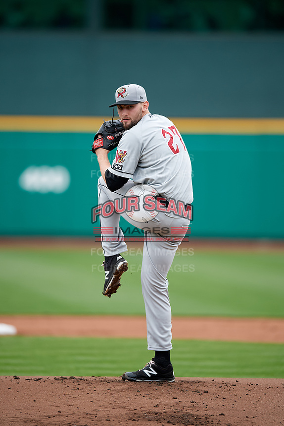 Wisconsin Timber Rattlers starting pitcher David Burkhalter (27) delivers a pitch during a game against the Fort Wayne TinCaps on May 10, 2017 at Parkview Field in Fort Wayne, Indiana.  Fort Wayne defeated Wisconsin 3-2.  (Mike Janes/Four Seam Images)