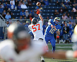 Bishop Gorman's Jaxon Bozarth pressures Reed quarterback Cameron Emerson in the second half of the NIAA 4A state championship football game in Reno, Nev., on Saturday, Dec. 2, 2017. Gorman won 48-7. Cathleen Allison/Las Vegas Review Journal @NVMomentum