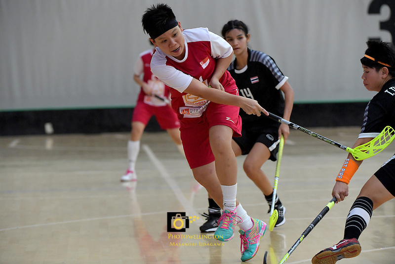 Singapore's Wilna Tan in action during the World Floorball Championships 2017 Qualification for Asia Oceania Region - Singapore v Thailand at ASB Sports Centre , Wellington, New Zealand on Sunday 5 February 2017.<br /> Photo by Masanori Udagawa<br /> www.photowellington.photoshelter.com.