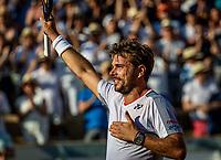 Paris, France, 2 june, 2019, Tennis, French Open, Roland Garros, Stan Wawrinka (SUI) celebrates his win over Stefanos Tsitsipas (GRE)<br /> Photo: Henk Koster/tennisimages.com